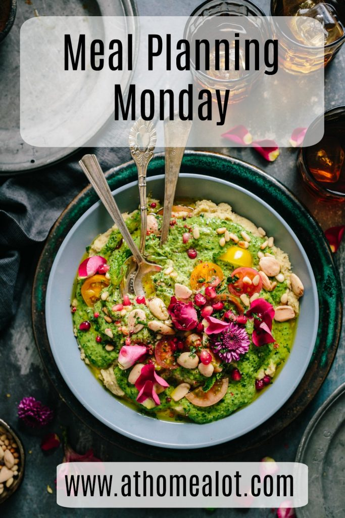 Meal plaaning monday image with a plate of food in the middle