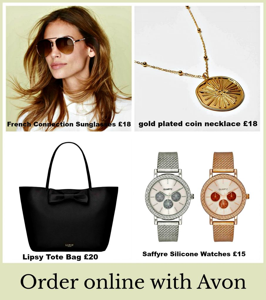 collage of Avon accessories, sunglasses, necklace, bag and watches