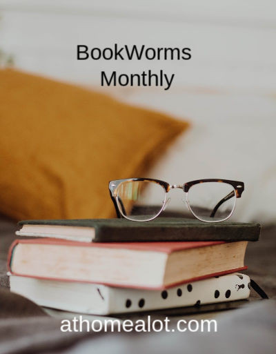 Bookworms monthly, a badge showing a pile of books with a pair of reading glasses on top