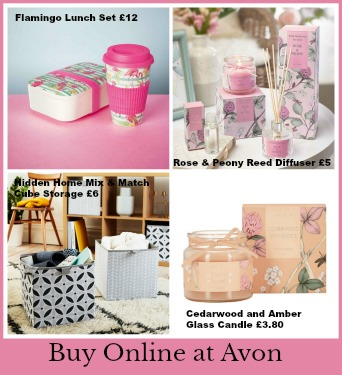 Avon home, candle, diffuser, storage boxes and lunch box and cup