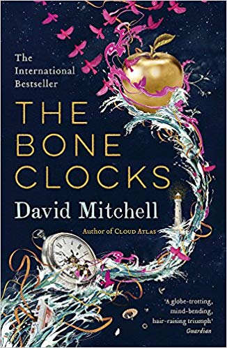 The bone clocks by David Mitchell, front cover featuring a pocket watch and golden apple