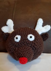 crochet reindeer bauble