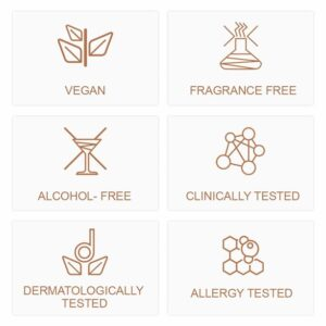 distillary, vegan, fragrance free, alcohol free, clinically tested, dermatology tested, allergy tested