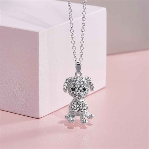 silver plated puppy necklace