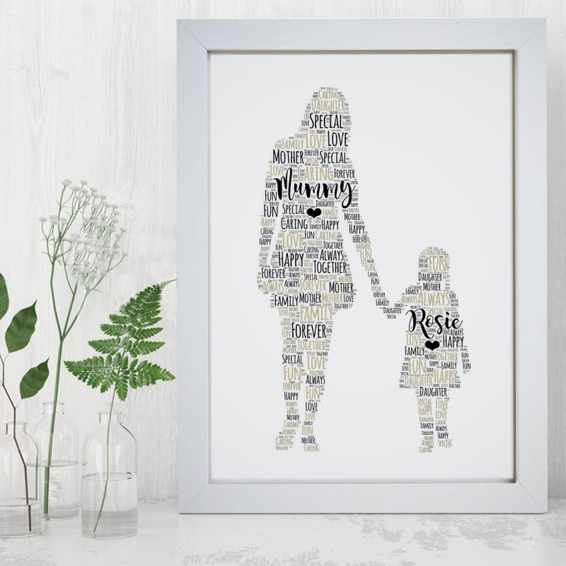 mother and daughter word print
