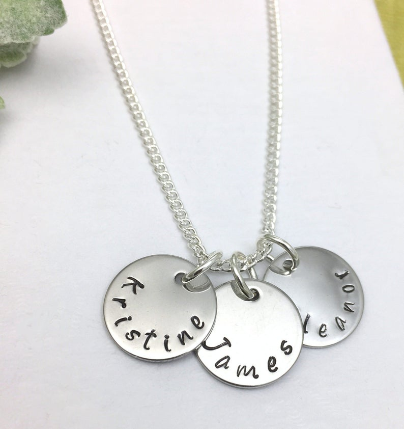 disc necklace with personalised names.