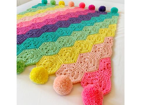 crochet kit rainbow blanket