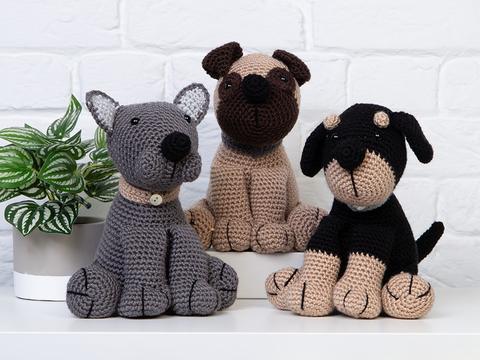 arigurumi pug, bulldog and rottweiler