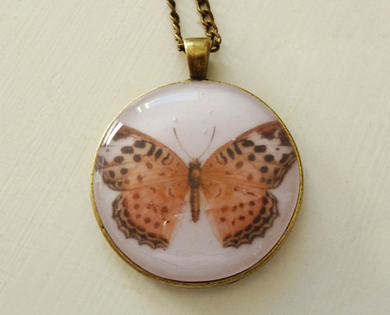 butterfly pendant in glass
