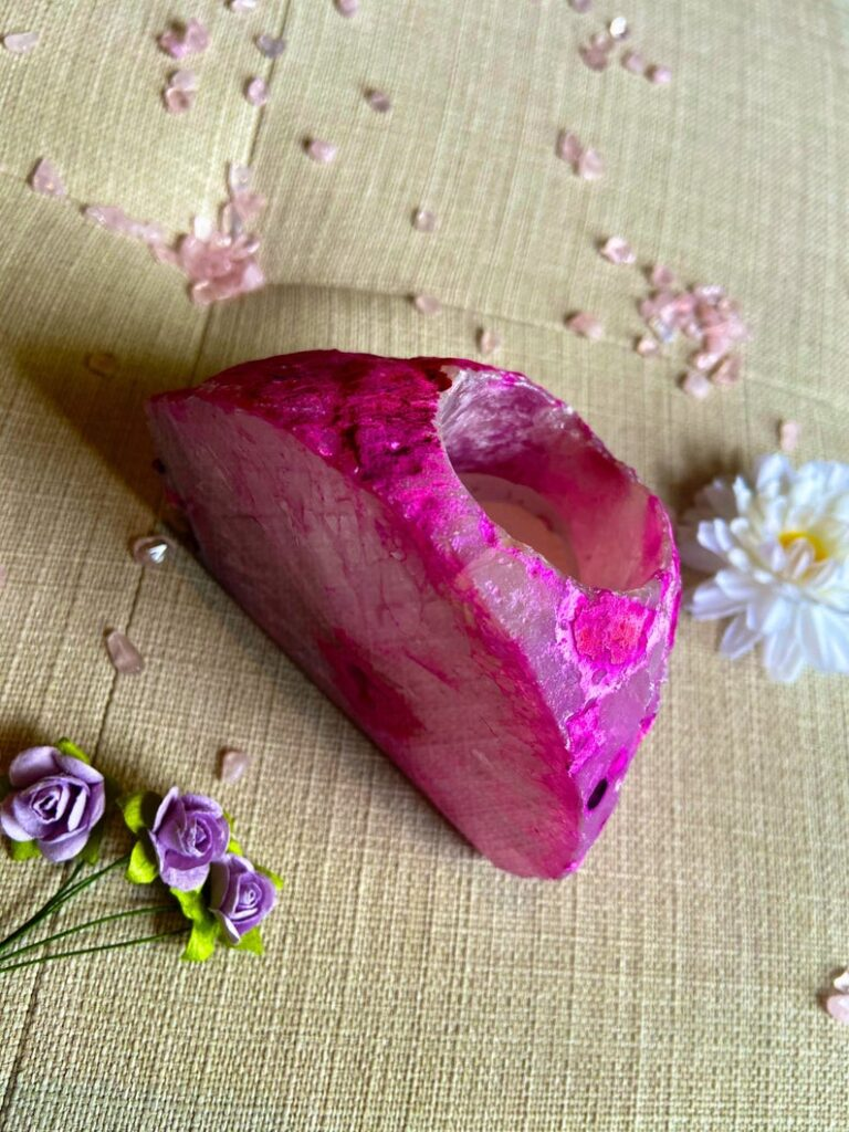 pink agate candle holder