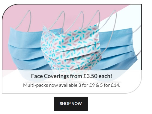 face coverings from £3.50 Each in lovely blue or geometric patterns.