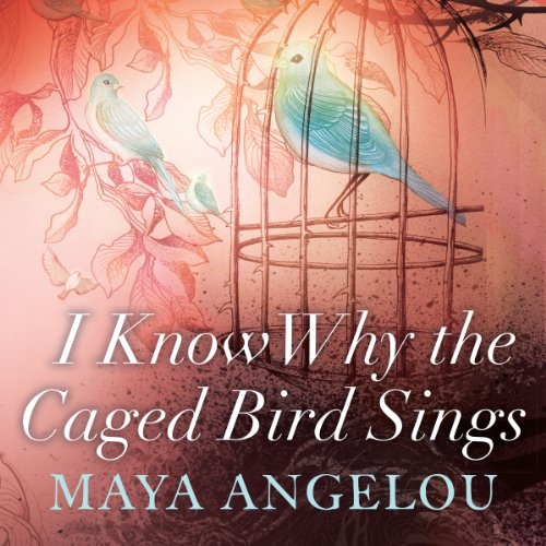 front cover of I know why the caged bird sings, showing a pink background with one bird in a cage and one on a branch