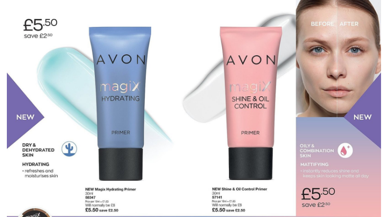 Picture shows a blue tube of Avon Magix hydrating, and a pink tube of Avon Magix shine & oil control. At the right side of the picture is a woman's face.