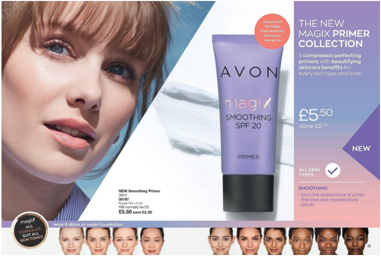 Picture shows a womans face and a purple tube of Avon Magix Primer, along the bottom is a line of women with different coloured faces.