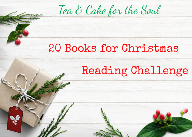 20 books for Christmas reading challenge badge from Tea and Cake for the Soul. featuring text on a white background with Christmas present and green leaves and red berries.