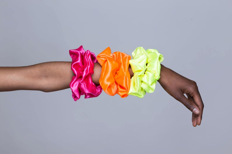bright and colourful scrunchies