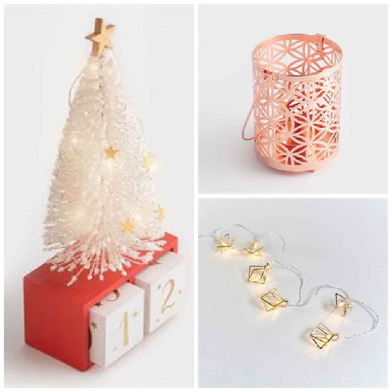 christmas decorations from Avon as described below. A christmas tree, lantern and string of lights