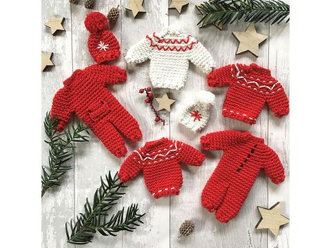 Christmas crochet, set of tiny red jumpers and romper suits.