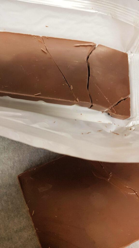 broken bars of chocolate