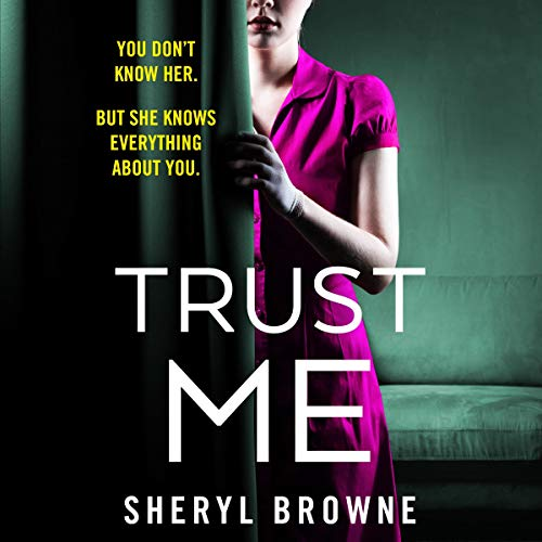 book cover, Trust Me, Sheryl Brown. A Woman in a purple dress hiding behind a curtain.