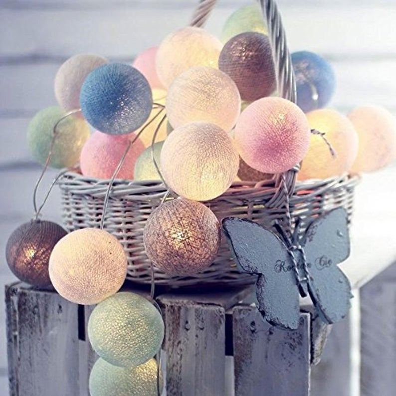 Ball shaped fairy lights in a basket