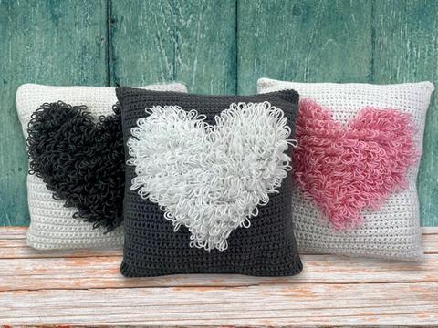 Valentines crochet heart cushions