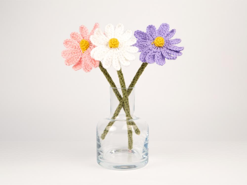 flowers in a vase, crochet
