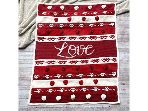 Valentines crochet red and white blanket with hearts design