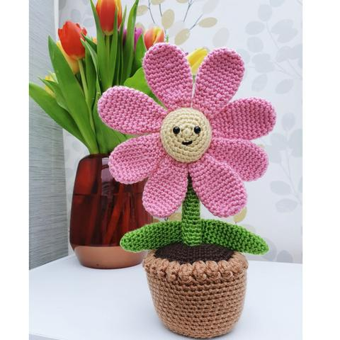 flower in a pot, crochet
