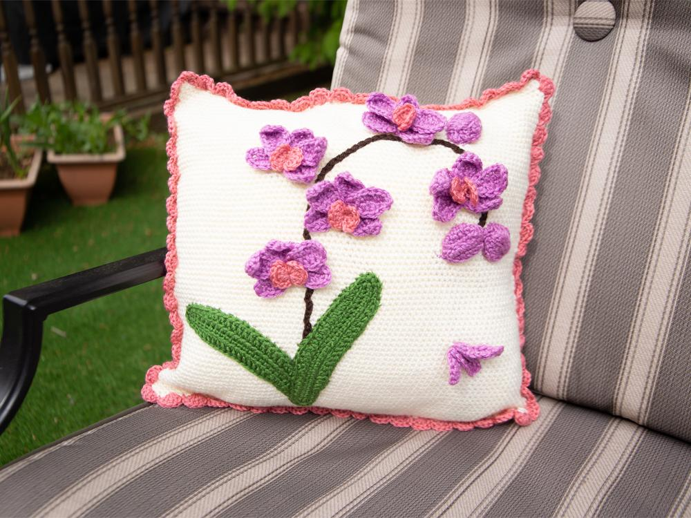 orchids on a cushion