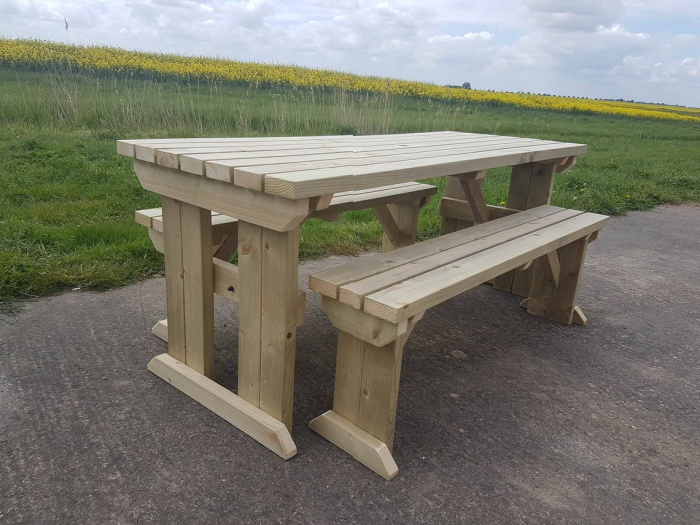 wooden picnic bench for the garden.