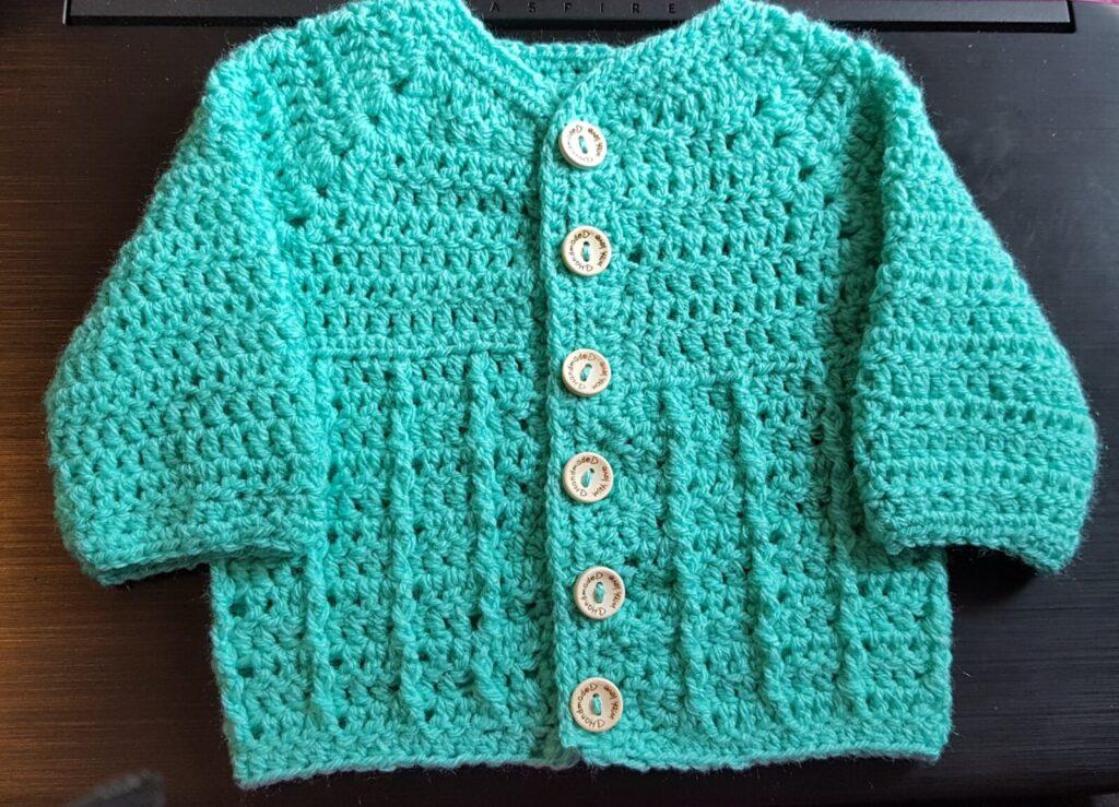 crochet baby cardigan.