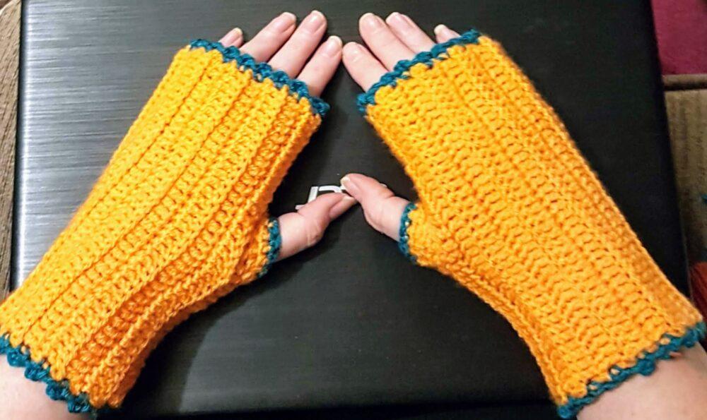 orange fingerless mittens