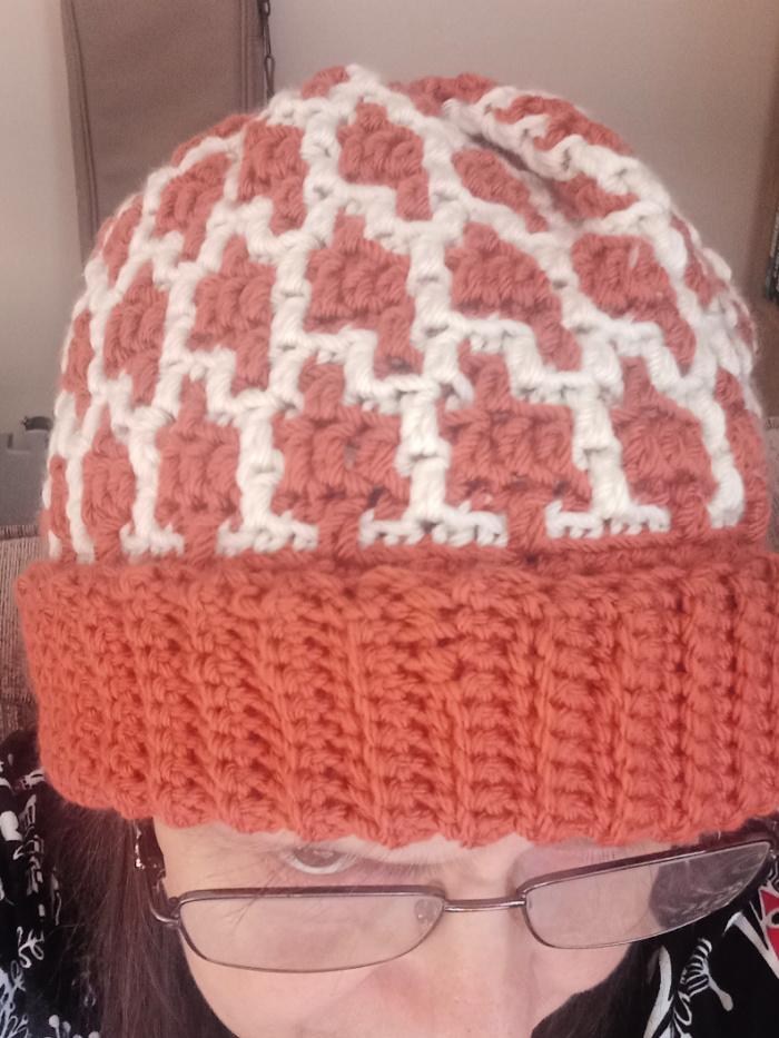 crochet mosaic hat on my head